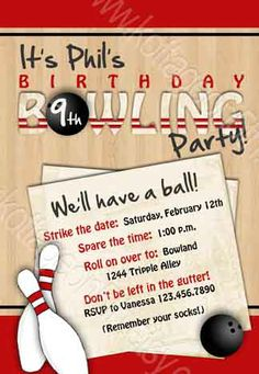 Bowling Party - Printable Birthday Invitation - Adult or Child - Custom Personalized Digital Design. Great idea for pre-teen or adult party! Bowling Party Invitations, Birthday Party Invitation Wording, Invitation Ideas, Christening Invitations Boy, Birthday Template, Party Themes For Boys, Party Activities, Birthday Parties, Fourth Birthday
