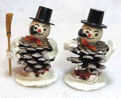 Vintage-Pine-Cone-Snowman-Christmas-Ornaments-Spun-Cotton-Head-Lot-Of-2