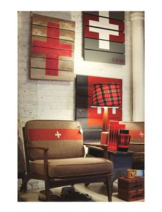 BRIMFIELD This newish home goods spot looks like an English countryside antiques shop that's had a run-in with a Native American trading post. Highlights include footstools upholstered in iconic Hudson Bay prints. Army Bedroom, Vintage Blanket, Cabin Furniture, Furniture Inspiration, Boy Room, Decoration, Andersonville Chicago, Switzerland, Upholstery