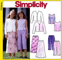 Simplicity, 8550, Girls Outfit sewing pattern, Skirt, pants, capri, peddle pusher, sleeveless blouse, jacket, easy to sew #CalfLengthDress #Skirt #Simplicity #8550 #pants #DressPattern #MoondancerCrafts #capri #pattern #Butterick