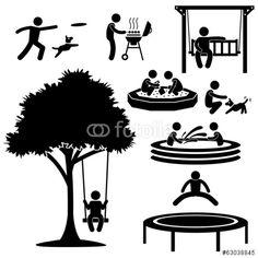 Vektor: People Children Garden Park Playground Backyard Activities