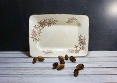 Ironstone Platter with Pink and Brown by momentofnostalgia on Etsy. Home & Living  Kitchen & Dining  Dining & Serving  Trays & Platters  Platters  flowers  white  porcelain  antique epsteam  leaves  victorian  momentofnostalgia  display  wall hanging  plate