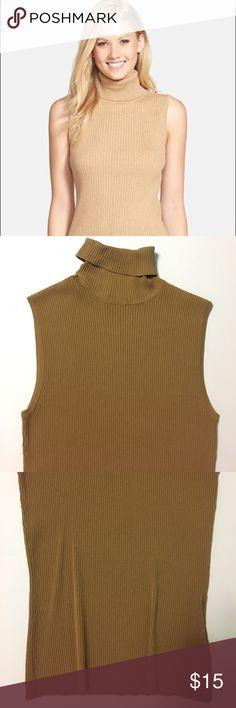 KASPER • Vintage style sleeveless turtleneck Vintage style KASPER gold ribbed high neck turtleneck. Size M. EUC. Kasper Tops