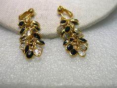 Vintage Gold Tone Clip Earrings-Stud &Clear & Black Marquis Bezel Dangles #Unbranded #studanddangleclip