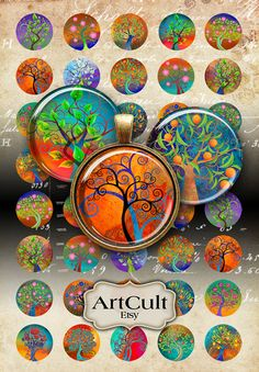 MAGICAL TREE CIRCLES - Digital Collage Sheet 1 inch and 1.5 inch size Printable Images for pendants, bottle caps, bezel cabs, scrapbooking