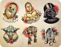 Old school star wars tattoos. So epic but idk if I'm ready to commit lol