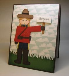 Hello, my Daughter's Friend is leaving tomorrow to train with the RCMP! The family had a party for her, and I made this card for Rachel to . Paper Punch, Punch Art, On The Bright Side, Canada Day, Scrapbooks, Cardmaking, To My Daughter, Greeting Cards, Paper Crafts