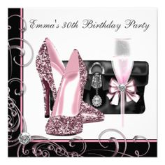 Personalize it - Womans Pink 30th Birthday Party Invitations