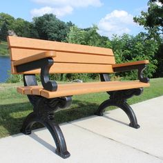 Outdoor Polly Products Silhouette Commercial Grade Recycled Plastic Park Bench - ASM-SB4BA-01-BLK-BLK