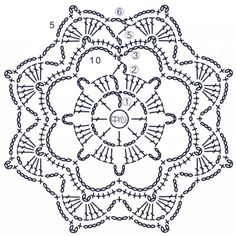 Transcendent Crochet a Solid Granny Square Ideas. Inconceivable Crochet a Solid Granny Square Ideas. Crochet Snowflake Pattern, Crochet Motif Patterns, Crochet Snowflakes, Crochet Diagram, Crochet Chart, Crochet Designs, Crochet Stitches, Crochet Circles, Crochet Squares