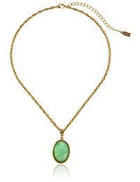 "1928 Jewelry ""Semi-Precious Collection"" 14k Gold Dipped Oval Pendant Necklace, 16"" @ grannieanniesfashionbling.com"