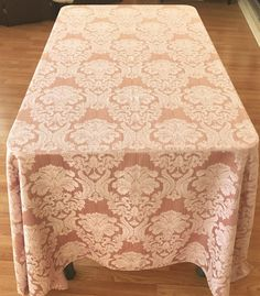 Damask Tablecloth Dusty Pink Beautiful By VintageLinenGallery
