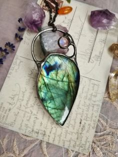 Labradorite Jewellery – Labradorite Necklace with Moon stone, Pendant – a unique product by Jewelry_Beads_Amber_Shop on DaWanda