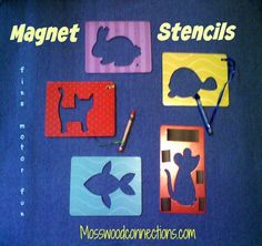 """Magnet Stencils: Fine Motor Fun By putting the magnet stencils on the refrigerator you are literally enticing children to keep busy drawing while you are busy cooking or cleaning. It gives a whole new meaning to the term """"Refrigerator Art""""."""