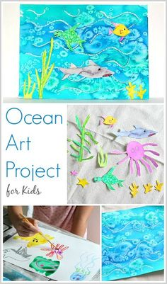Cool Ocean Art Project for Kids: Use watercolors, oil pastels, and salt to create this bright and colorful sea life painting! ~ BuggyandBuddy.com