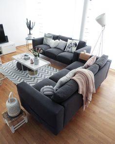 Salon déco nordik scandinave canapé 3 places gris anthracite