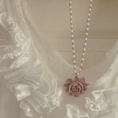 Purple Rose Necklace Vintage Style Rose Jewelry White Beaded Chain - Audrey