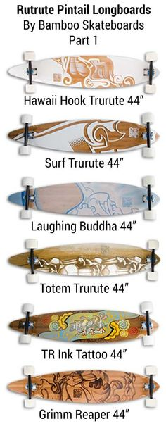 Trurute Collection of Pintail Longboards - by bamboo skateboards - part 1