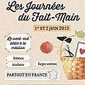 Les expos à venir : Journées du Fait-Main chez Nice Piece, 76 rue Charlot 75003 Paris  Le collectif l'Effet Main du 11 au 16 juin  à la Galerie B