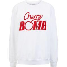 Ganni Jefferson Isoli Cherry Bomb Sweatshirt ($120) ❤ liked on Polyvore featuring tops, hoodies, sweatshirts, white top, long sleeve sweatshirt, white long sleeve top, white sweatshirt and ganni