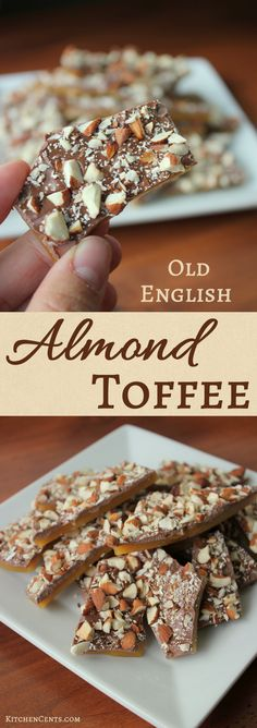 Layers of crunchy burnt sugar, sweet chocolate and bits of toasted almonds, Old English Almond Toffee is a great neighbor gift or Christmas goodies to share. Fun Holiday Desserts, Christmas Sweets, Christmas Goodies, Just Desserts, Delicious Desserts, Italian Desserts, Christmas Cooking, Christmas Candy, Holiday Baking