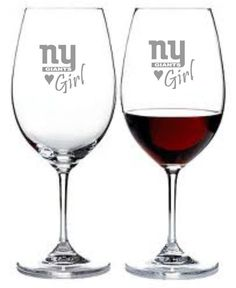 New York Giants Girl Set of 2 Wine Glasses by WulfCreekDesigns, $29.95