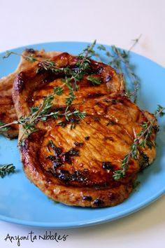 Honeyed Thyme Pork Chops perfect for spring and summer dinners