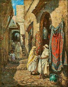 Algérie - Peintre Américain Addison Thomas Millar (1860 – 1913), huile sur toile , Titre : Boutique de couvertures