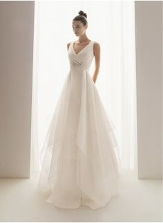 Attractive A-Line/Princess V-neck Chapel Train Organza Satin Wedding Dress with Ruffle Bead work