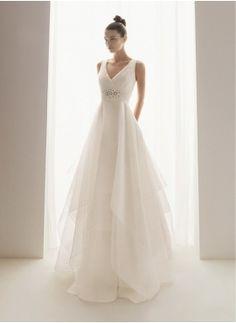 Attractive A-Line/Princess V-neck Chapel Train Organza Satin Wedding Dress with Ruffle Bead work