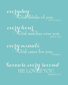 Everyday God Loves You  Inspirational Scripture by karimachal, $18.00