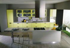 Kitchen:Three Yellow Kitchens You Must See And Apply In Your Home Grey Yellow Colour Choosing For Filling The Decoration For Kitchen With Modern Style Design Idea Yellow Kitchen Designs, Yellow Kitchen Decor, Modern Kitchen Design, Interior Design Kitchen, Interior Decorating, Decorating Ideas, Kitchen Stools, Kitchen Flooring, Kitchen Dining