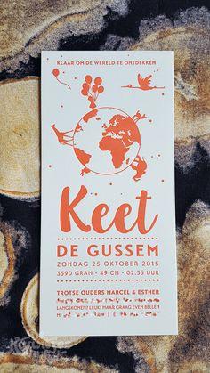 Letterpress geboortekaartje meisje - Keet #letterpress #birthcard #birthannouncement #geboortekaartje #wereld #world #explore #ontdekken #olifant #elephant #giraffe #balloons #ballonnen #girl #meisje #heidelberg #dekaartjeswinkel