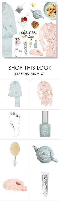 """Pajamas. All day."" by jleigh329 ❤ liked on Polyvore featuring Olivia von Halle, Matters of Leisure, Skullcandy, Viva La Diva, Balmain, UGG, Marvis, Gucci, pajamas and 2018"