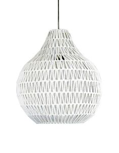 The Cooper Pendant Light is made from string, died white and woven around a wire frame - the look is great!