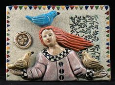 Ceramic tile Girl with three Birds by tilebyfire on Etsy