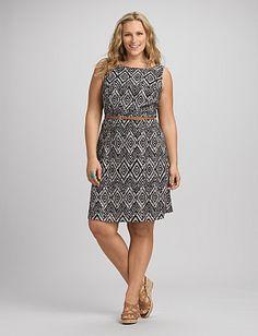 Plus Size Ikat Fit-and-Flare Dress   Dressbarn