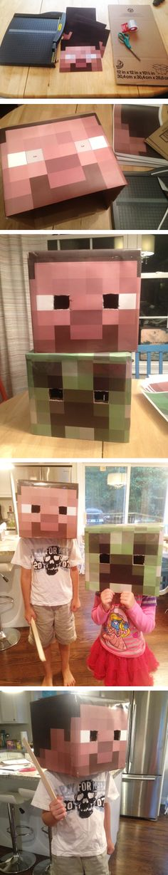 DIY Minecraft Costumes Steve & Creeper- just has the heads, but It has a link for a template to print to make the faces