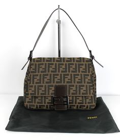 Fendi Brown Zucha Monogram Canvas Leather Trim Mama Forever Bag $695 Retail #Fendi #ShoulderBag