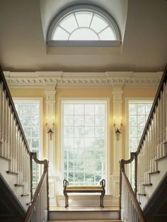 Photographic Print: Double Staircase in Upscale Home Poster : Double Staircase, Modern Staircase, Staircase Design, Beautiful Houses Interior, Beautiful Interiors, Beautiful Homes, Luxury Homes Interior, Home Interior Design, Interior Decorating
