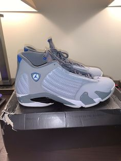 Air Jordan 14 Retro Men s Wolf Grey Sport Blue  074ac5b11