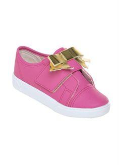50c469c0c5 Tênis Infantil Pink com Laço Dourado e Velcro