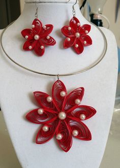 Red Necklace and Earrings with White Pearls