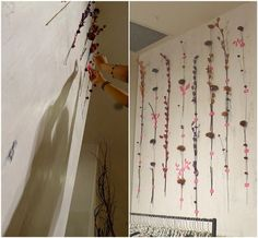 wooden flowers taped to walls with fluorescent tape | fall 2011 store windows and displays in free people stores using, wood, fiber, yarn, etc