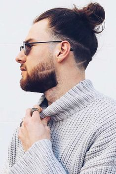 Bun With Shaved Lines ❤ Fancy trying the famous man bun? Let us show you how to wear it right! Top knot variations, messy hipster looks with braids, undercut bun hairstyles with fade and beard, ideas for curly hair, and a lot of inspo are here! Man Bun Undercut, Man Bun Haircut, Man Bun Hairstyles, Low Fade Haircut, Undercut Long Hair, Fashion Hairstyles, Curly Hair Styles, Hair And Beard Styles, Messy Curly Bun