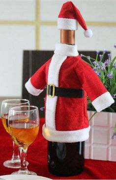 4d036436c1c94 Christmas Gift Decoration Wine Bottle Cover Bags Santa Claus Dinner Table  Decoration Clothes With Hats Drop