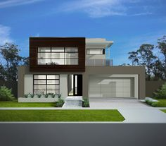The Montpellier redefines family living through a thoughtful design that delivers on functionality. Modern Exterior House Designs, Modern Small House Design, Modern House Facades, Minimalist House Design, Dream House Exterior, Modern House Plans, New Home Designs, Creative Architecture, Storey Homes