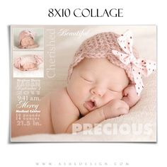 Ashe Design | 8x10 Newborn Photography Template | Sculpting Words