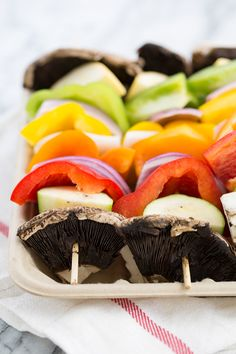 Grilled veggie kabobs made with a green coconut curry marinade {sub coconut sugar for brown sugar]