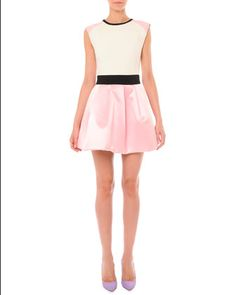 Sleeveless Colorblock Pouf-Skirt Dress by Fausto Puglisi at Neiman Marcus♡ by tiffany